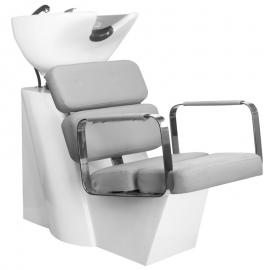 Waschsessel Friseursessel Rückwertswaschbecken grau